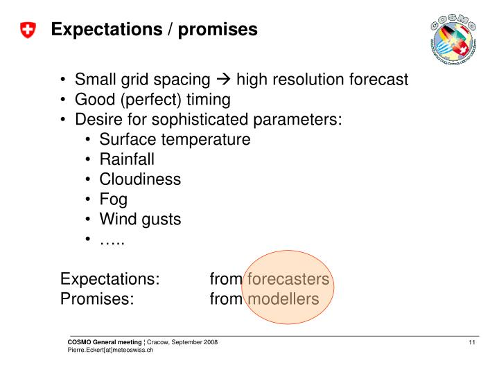 Expectations / promises
