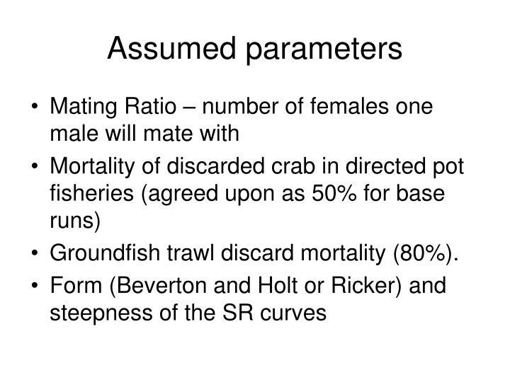Assumed parameters