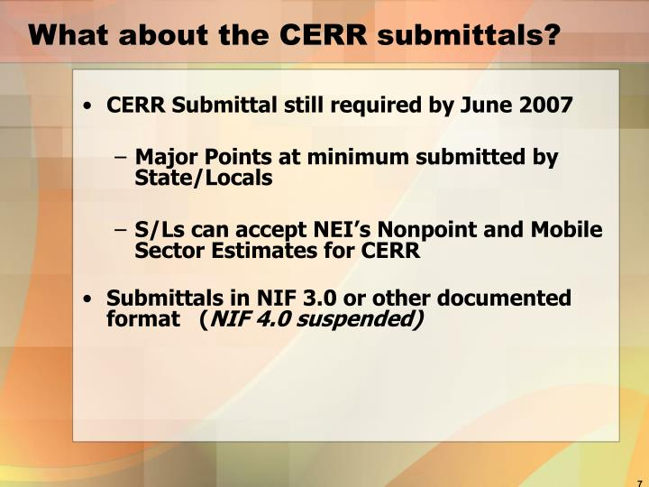 What about the CERR submittals?