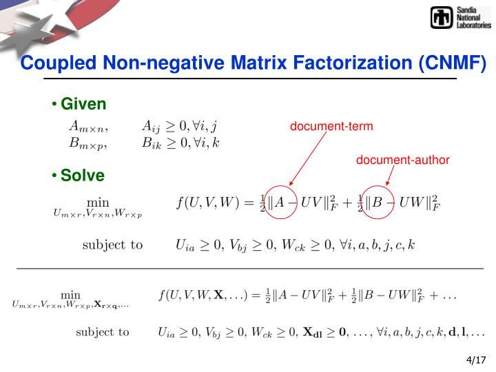 Coupled Non-negative Matrix Factorization (CNMF)