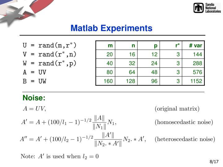 Matlab Experiments