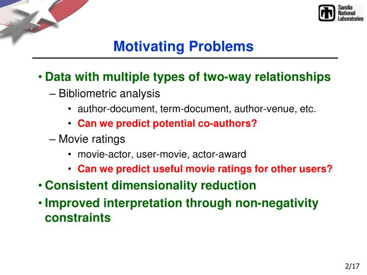 Motivating Problems
