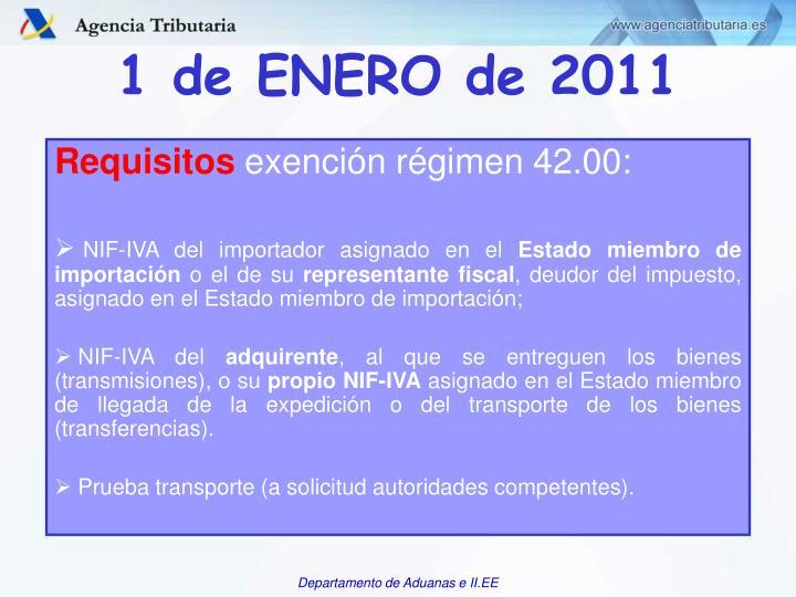 1 de ENERO de 2011