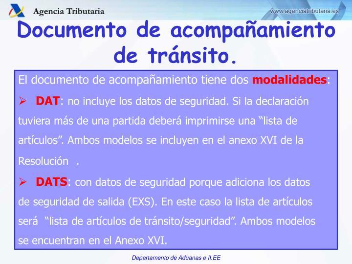 Documento de acompañamiento de tránsito.