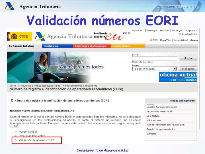 Validación números EORI