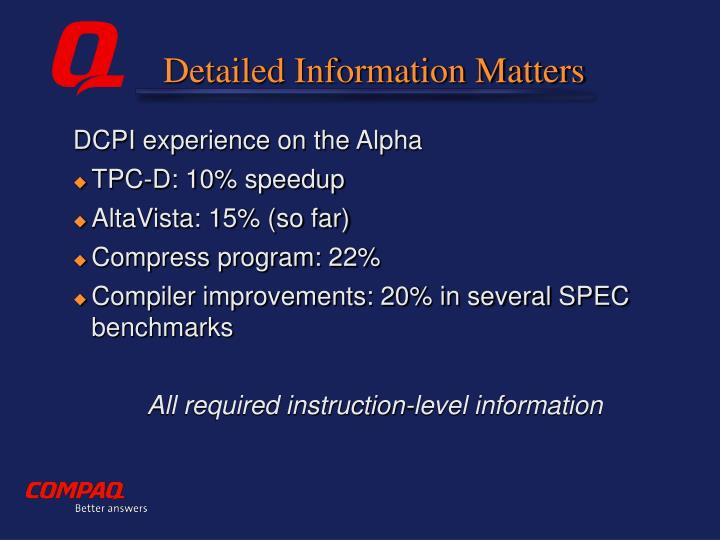 Detailed Information Matters