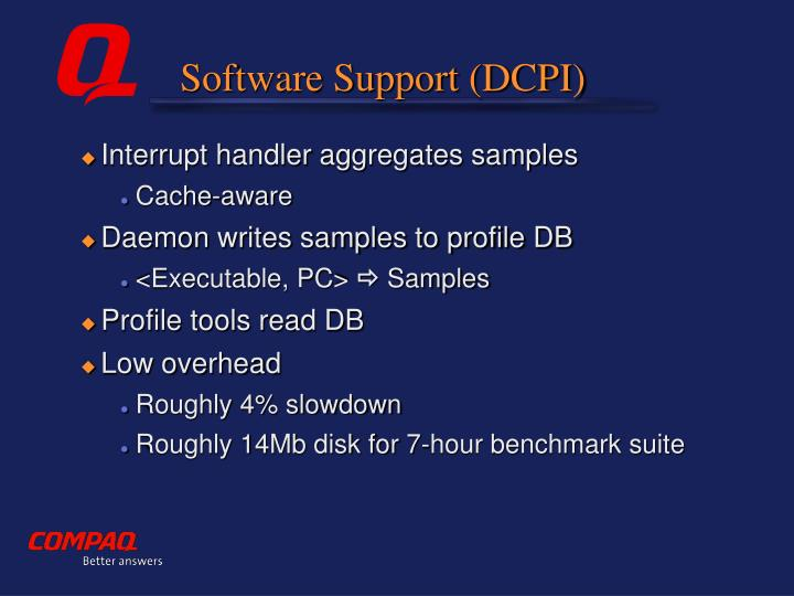 Software Support (DCPI)
