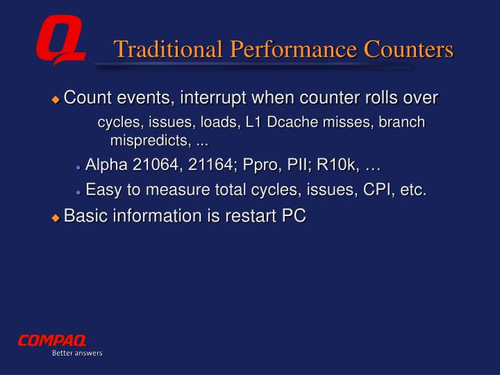 Traditional Performance Counters