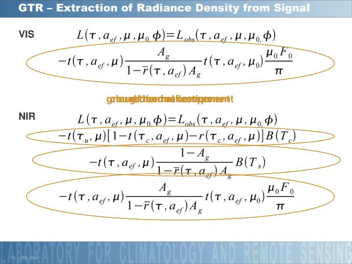 GTR – Extraction of Radiance Density from Signal