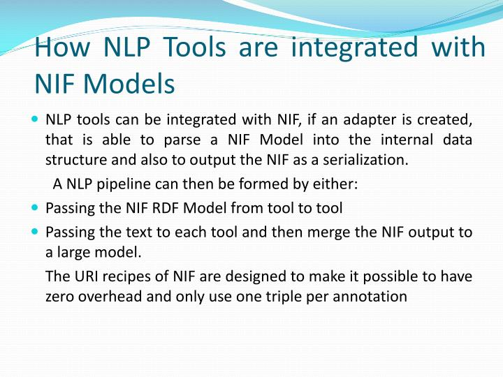 How NLP Tools are integrated with NIF Models