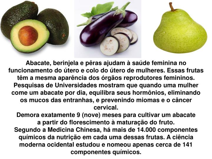 Abacate, berinjela e pêras ajudam à saúde feminina no funcionamento do útero e colo do útero de mulheres. Essas frutas têm a mesma aparência dos órgãos reprodutores femininos.