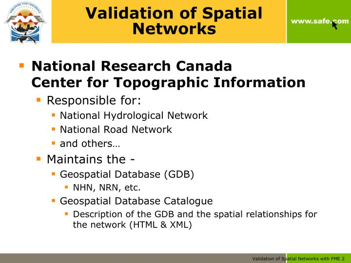 Validation of spatial networks