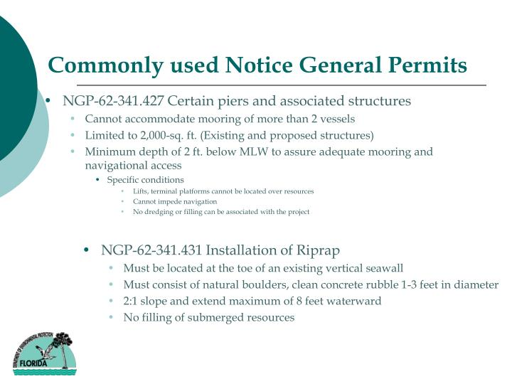 Commonly used Notice General Permits