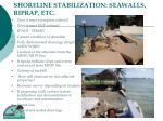 shoreline stabilization seawalls riprap etc