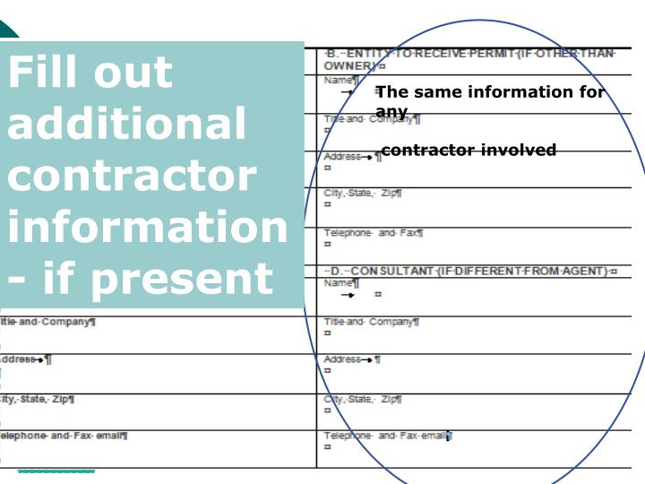Fill out additional contractor information- if present