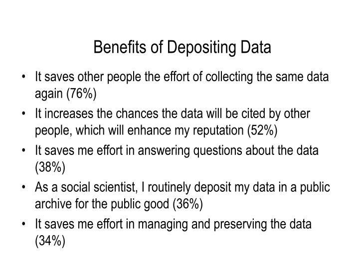 Benefits of Depositing Data