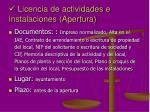 licencia de actividades e instalaciones apertura