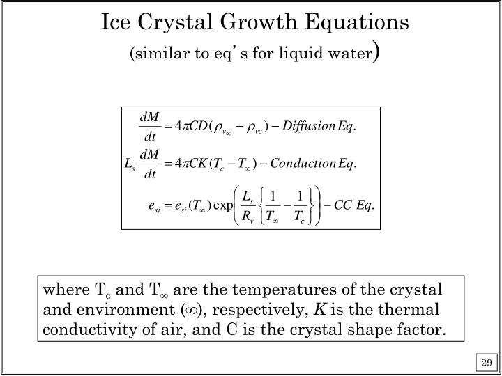 Ice Crystal Growth Equations