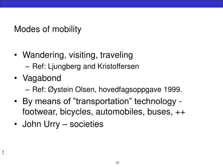 Modes of mobility