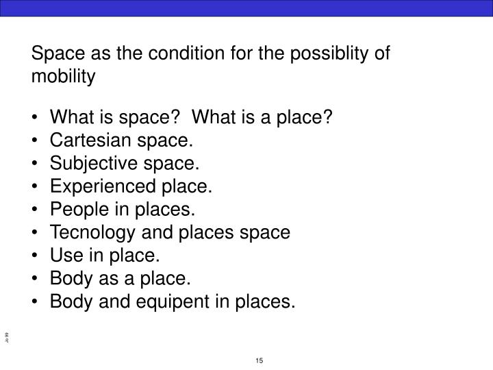 Space as the condition for the possiblity of mobility