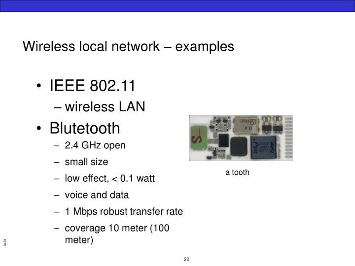 Wireless local network – examples