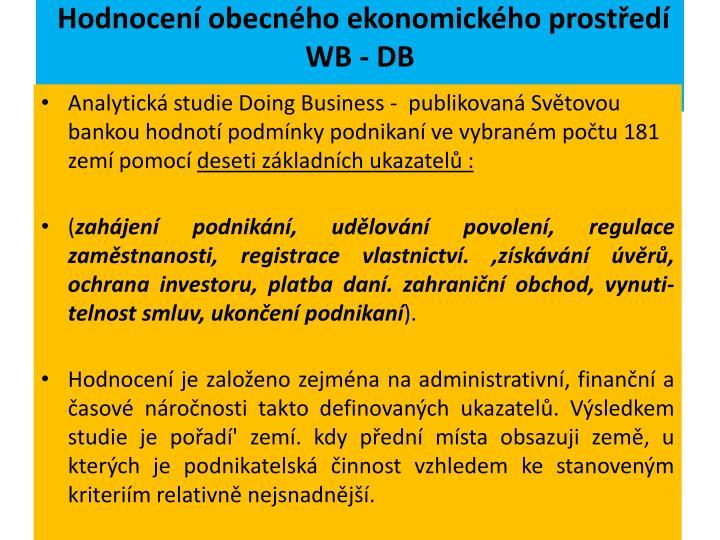 Hodnocení obecného ekonomického prostředí WB - DB