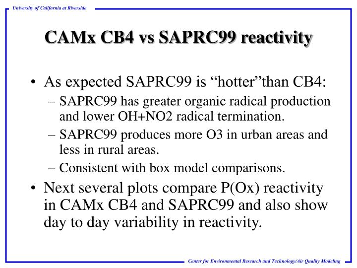 "As expected SAPRC99 is ""hotter""than CB4:"