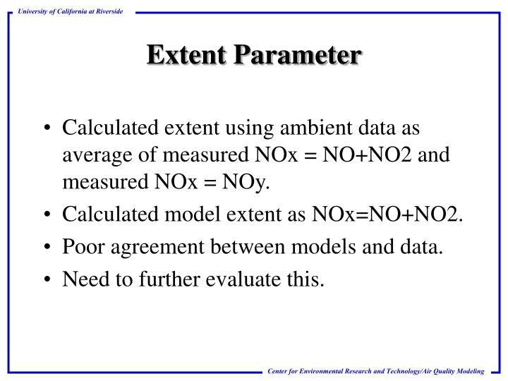 Calculated extent using ambient data as average of measured NOx = NO+NO2 and measured NOx = NOy.