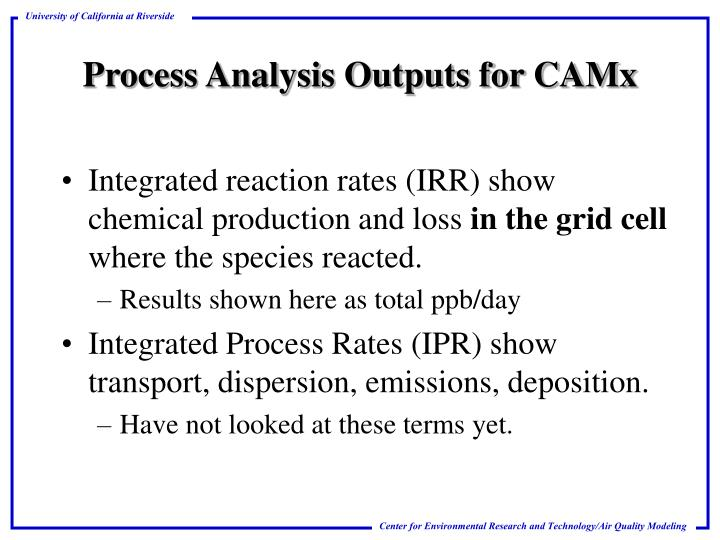 Process analysis outputs for camx