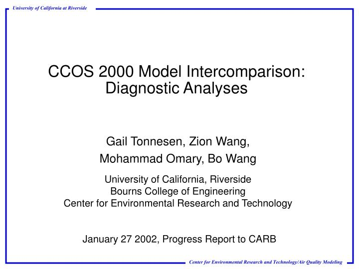 CCOS 2000 Model Intercomparison: