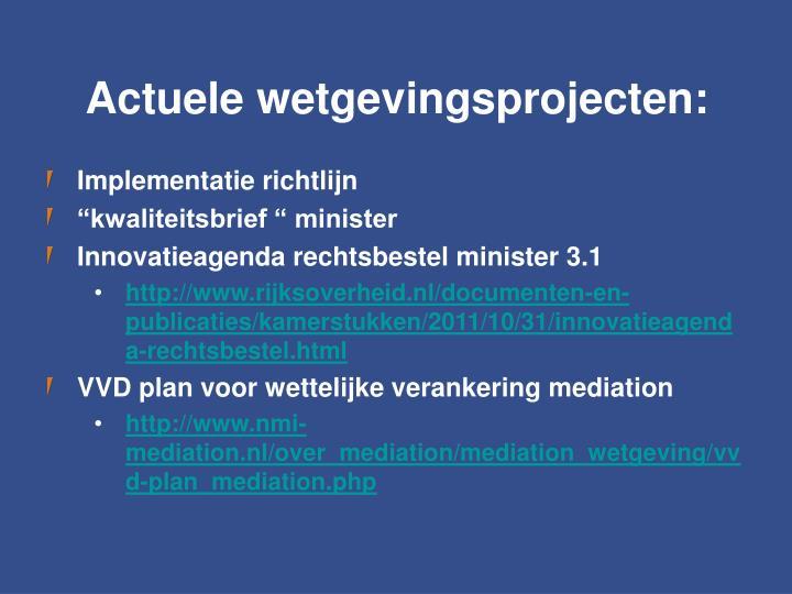 Actuele wetgevingsprojecten: