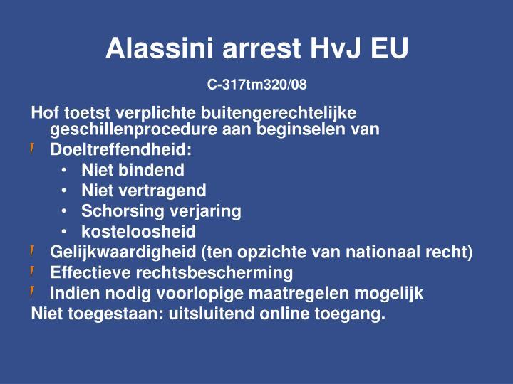 Alassini arrest HvJ EU