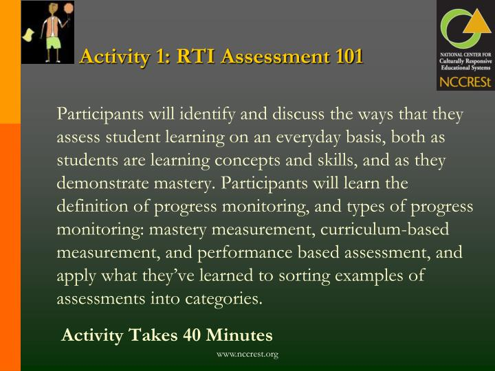 Activity 1: RTI Assessment 101