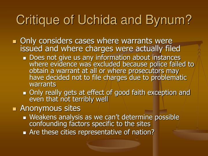 Critique of Uchida and Bynum?