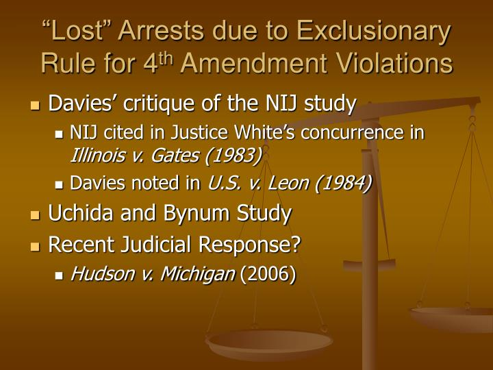 """""""Lost"""" Arrests due to Exclusionary Rule for 4"""