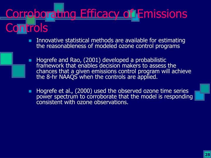Corroborating Efficacy of Emissions Controls
