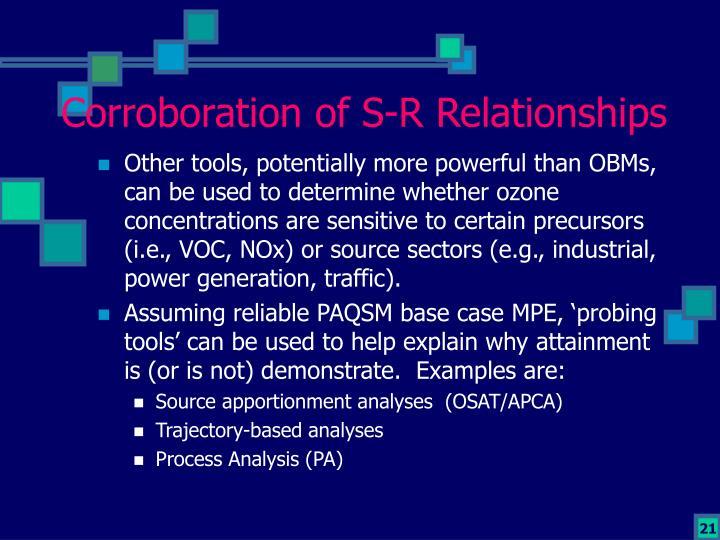 Corroboration of S-R Relationships