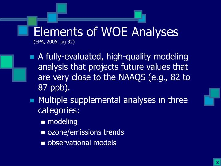 Elements of WOE Analyses