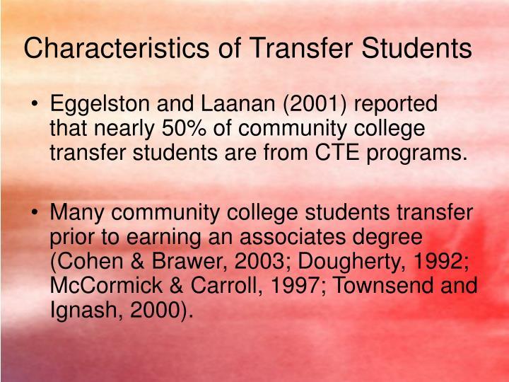 Characteristics of Transfer Students