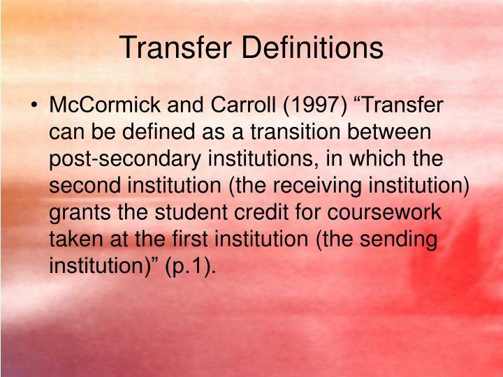 Transfer Definitions