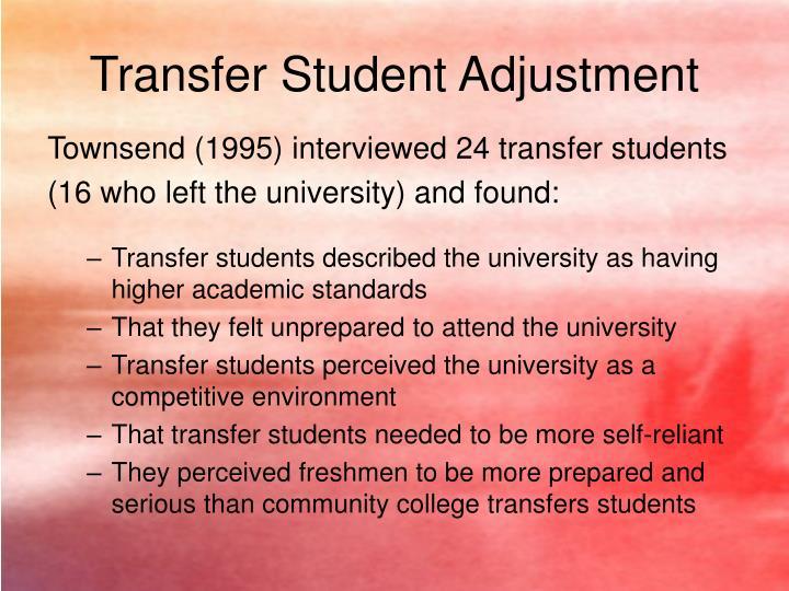 Transfer Student Adjustment