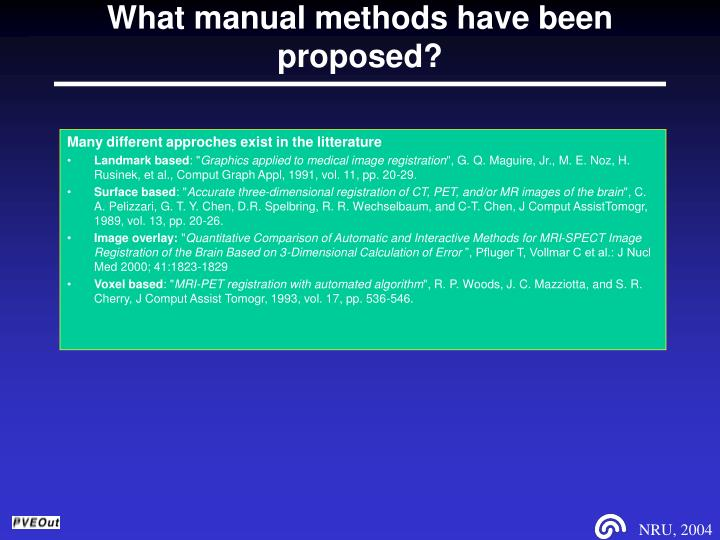 What manual methods have been proposed?