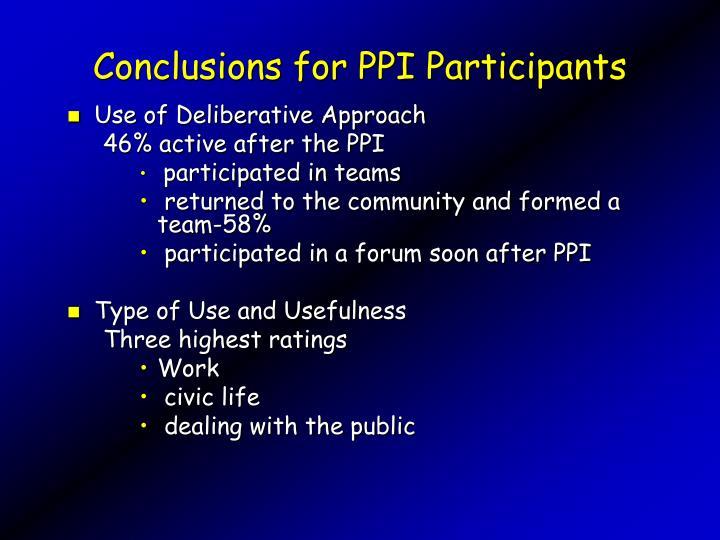 Conclusions for PPI Participants