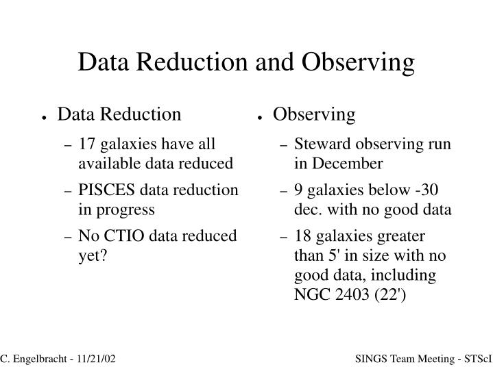 Data reduction and observing