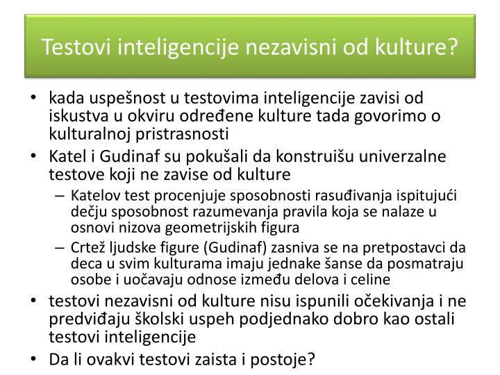 Testovi inteligencije nezavisni od kulture?