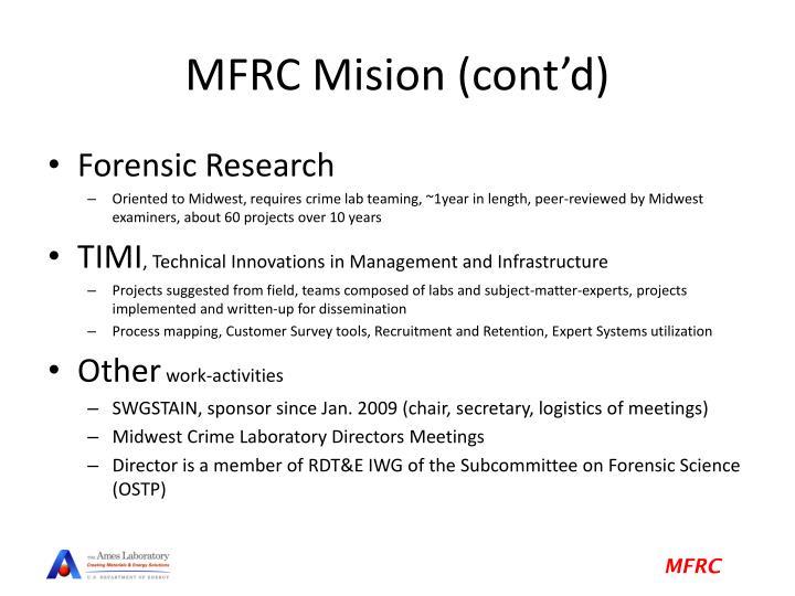 MFRC Mision (cont'd)