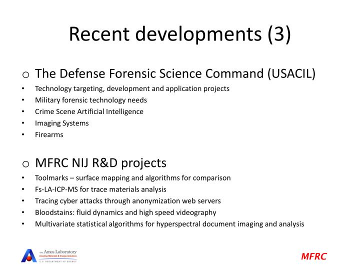 Recent developments (3)
