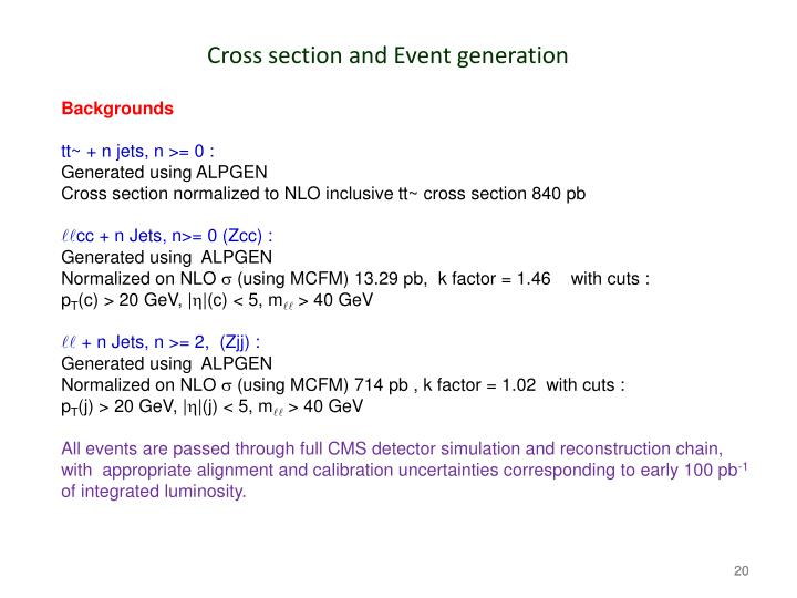 Cross section and Event generation