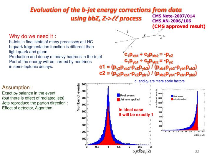 Evaluation of the b-jet energy corrections from data
