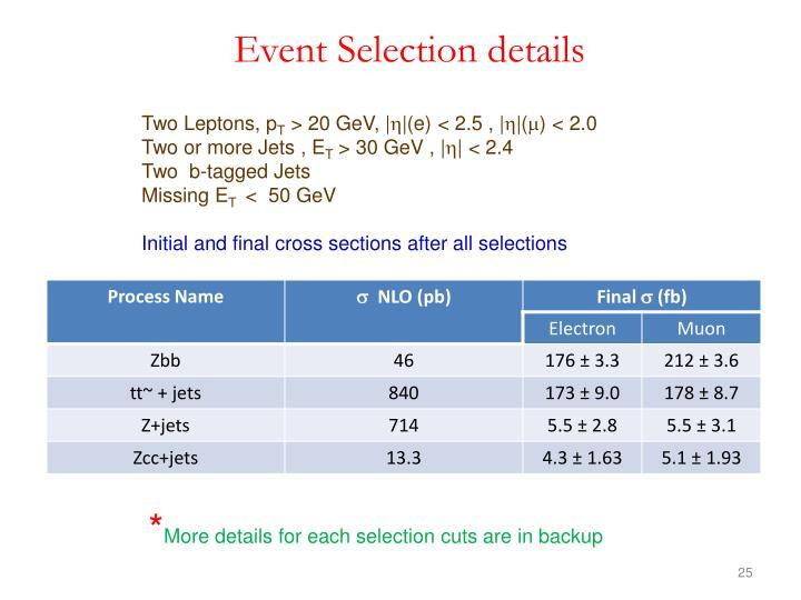 Event Selection details